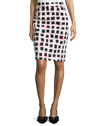3/4-sleeve bow-back sweater & abstract checkered pencil skirt