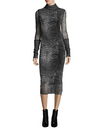 Turtleneck Printed Body-Conscious Dress