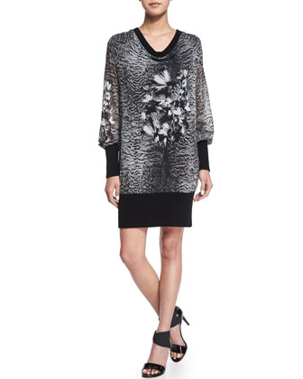 Draped-Front Printed Tunic/Dress