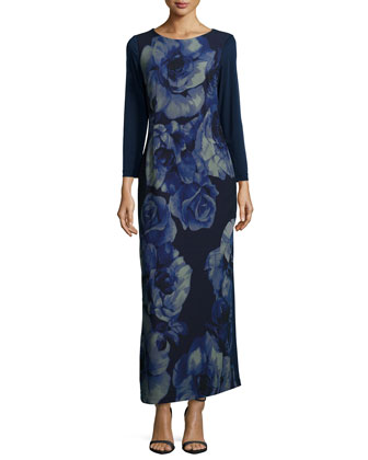 Rosette-Print Long-Sleeve Maxi Dress