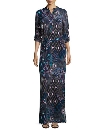 Tribal-Print Maxi Shirtdress, Women's