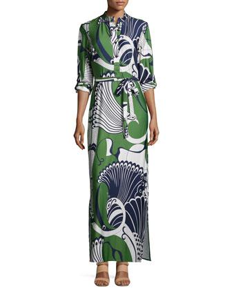 Peacock-Print Maxi Dress