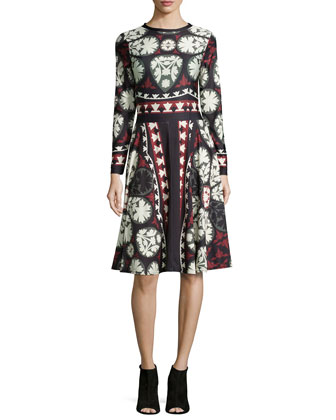 Claret Long-Sleeve Fit & Flare Printed Dress, Women's