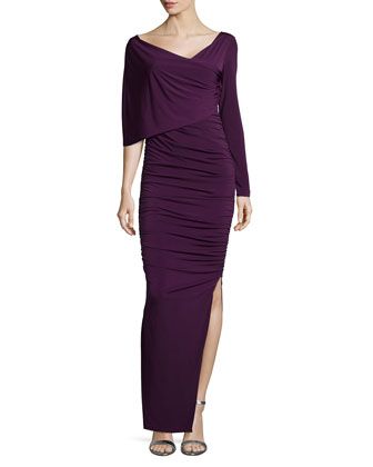 One-Sleeve Ruched Column Dress