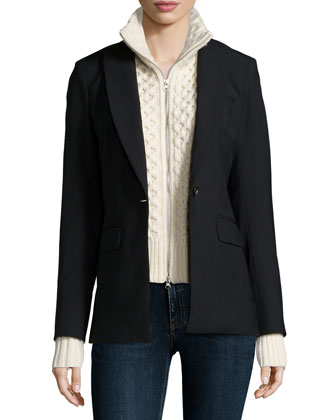 Long & Lean Jacket with Upstate Knit Dickey, Black/Ivory