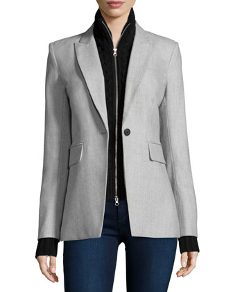 Long & Lean Jacket with Upstate Knit Dickey, Gray/Black