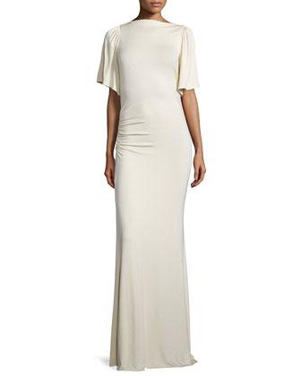 Reanna Drama-Sleeve Long Column Dress