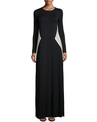 Janna Two-Tone Jersey Maxi Dress