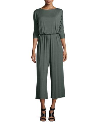 Melton 3/4-Sleeve Wide-Leg Cropped Jumpsuit, Women's