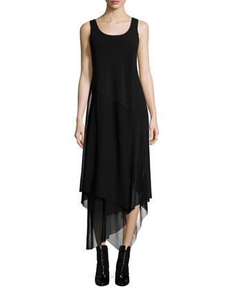 Sleeveless Handkerchief-Hem Dress
