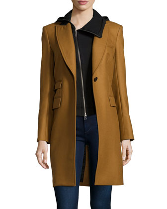 Chesterfield Coat with Ninja Dickey, Camel/Black