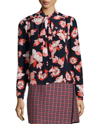 Allen Floral-Print Tie-Neck Blouse