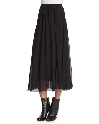 Sheer-Sleeve Fuzzy-Grid Top & Long Full Mesh Skirt