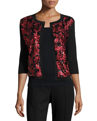 Sequined Floral Button-Front Cardigan, Women's