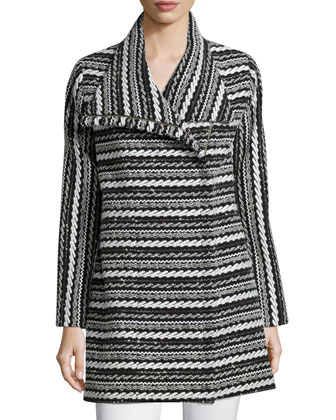 Long-Sleeve Cable-Knit Topper Jacket, Black/White
