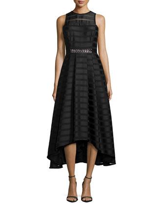 Sleeveless Sheer-Stripe High-Low Dress, Jet