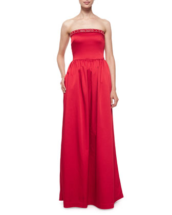 Strapless Beaded-Neck Ball Gown, Scarlett