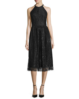 Sleeveless Jewel-Neck Lace Dress, Jet