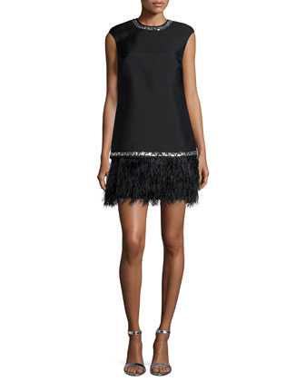 Cap-Sleeve Bead-Trim Dress W/ Feather Hem