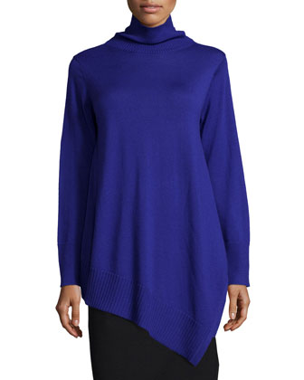 Long-Sleeve Merino Asymmetric Turtleneck Tunic, Petite