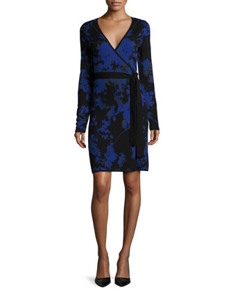 Leandra Floral-Print Wrap Dress, Blue