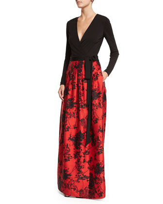 Kailey Long-Sleeve Floral-Print Combo Full Gown