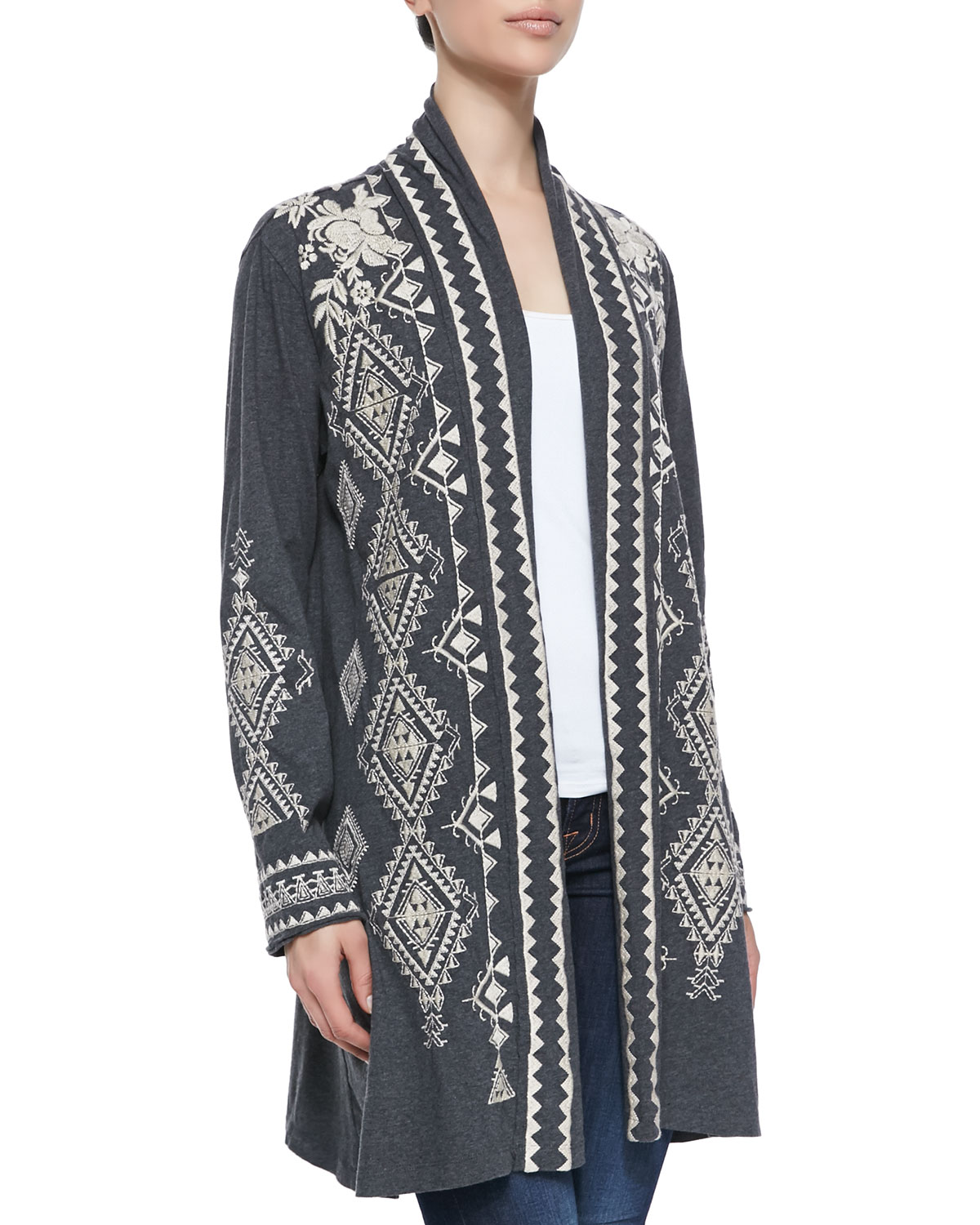 Tulia Embroidered Duster Cardigan, Size: LARGE (12), BLACK - JWLA for Johnny Was