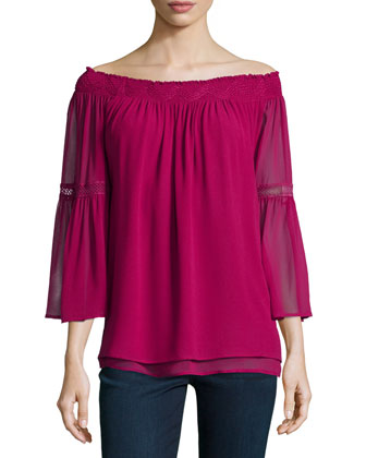 Off-The-Shoulder Sheer-Sleeve Top, Berry