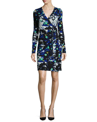 Leandra Leaf-Print Wrap Dress, Blue