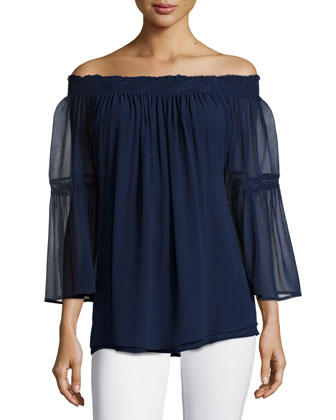 Off-The-Shoulder Sheer-Sleeve Top, Midnight