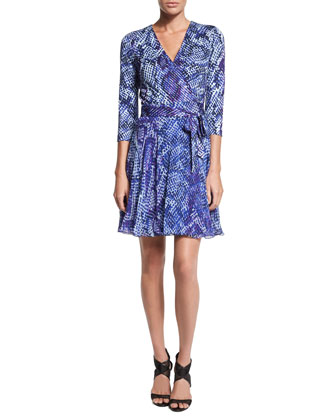 Irina Python-Print Combo Wrap Dress