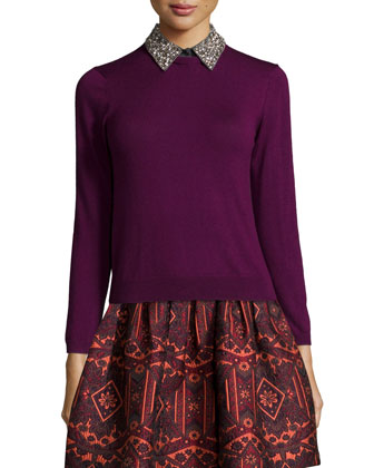 Rosalind Embellished-Collar Pullover Sweater & Stora Pleated Tribal-Print Skirt