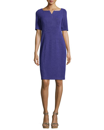 Short-Sleeve Textured Sheath Dress