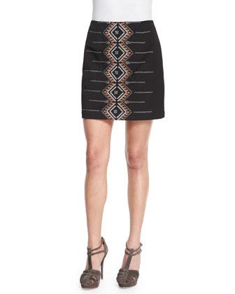 Cross Town Embroidered Miniskirt
