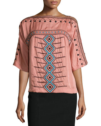 Short-Sleeve Embroidered Blouse W/ Cold Shoulder & Textured Pencil Skirt
