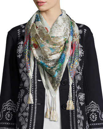 Everly Embroidered Pouch-Pocket Pea Coat & Jace Printed Silk Scarf, Women's