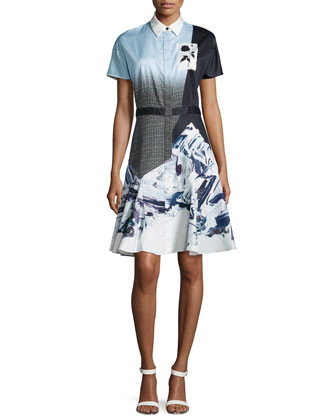 Short-Sleeve Flared Shirtdress, Light Blue