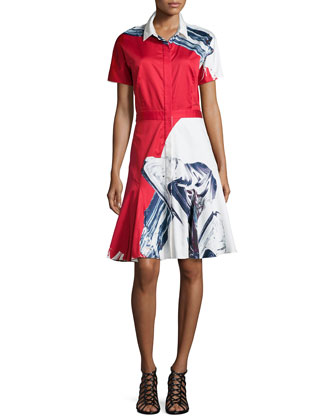 Short-Sleeve Flared Shirtdress, Crimson