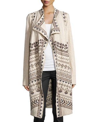 Chevren Geometric-Print Long Cardigan, Oatmeal