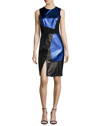 Sleeveless Colorblock Sheath Dress, Cobalt