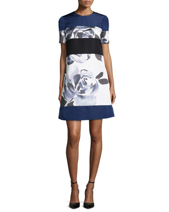 Short-Sleeve Floral-Print Dress, Brushstroke