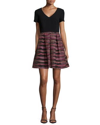 Short-Sleeve Combo Striped A-line Skirt Dress