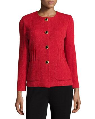 Button-Front Metallic-Knit Jacket, Petite