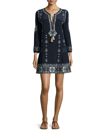 Nona Long-Sleeve Beaded and Embroidered Dress, Navy