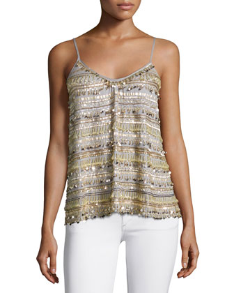 Lovette Embellished Tank, Pearl Gray