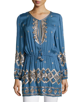 Fioretta Embellished Tunic, Bluette
