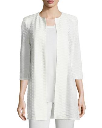 Textured Long Open Jacket, Women's