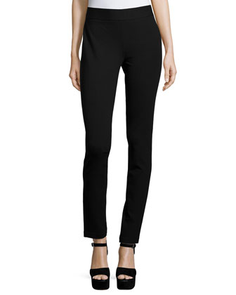 Bella Double-Knit Straight-Leg Pants