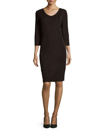 3/4-Sleeve V-Neck Dress, Petite