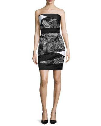 Strapless Banded Bustier Dress, White/Black Paint